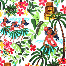 Alexander Henry LEIS, LUAUS AND ALOHAS Hawaiian Tiki Hula Girl Fabric - White