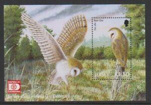 Jersey-2001-Hafnia-039-01-Tampon-Exh-Birds-Of-Prey-Feuille-MNH-Sg-MS1013