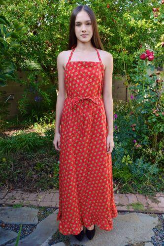 Vintage 1970s Red & Green Halter Cotton Mod Floral