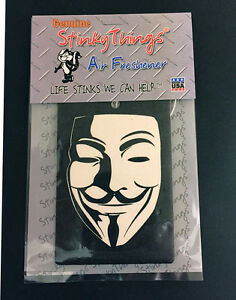 GUY FAWKES AIR FRESHENER * VANILLA * v for vendetta anonymous car truck sticker