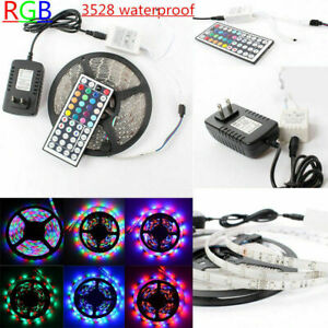 5M-3528-SMD-RGB-LED-Indoor-Ooutdoor-Flexible-Strip-Light-Remote-Power-Supply