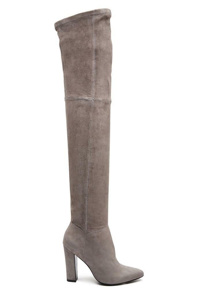 New WITCHERY Grey Stretch Suede Leather Over Knee High Heel Iris Boots 37 $400