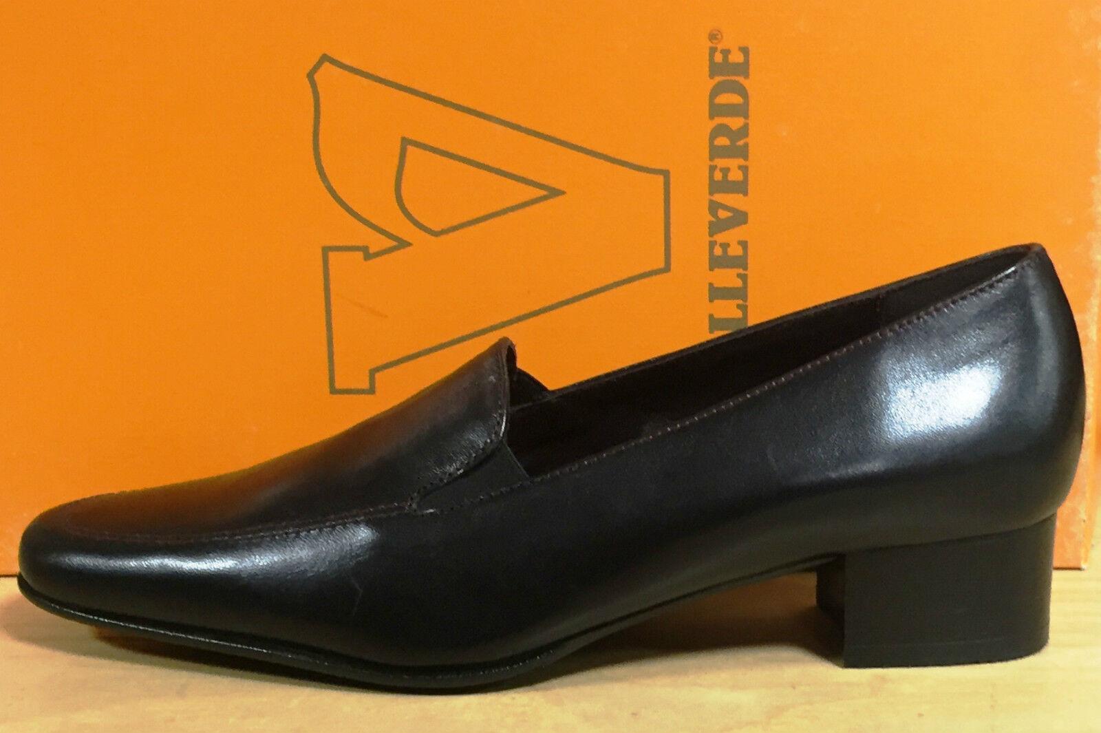 Valleverde zapatos de mujer tacón zapatos de salón de tacón mujer baja en suave cuero negro 47a775