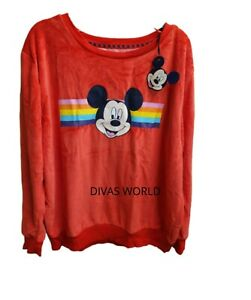 Disney-Mickey-Mouse-Jumper-Red-Women-Ladies-Full-Sleeves-Cardigan-Brand-New14-16
