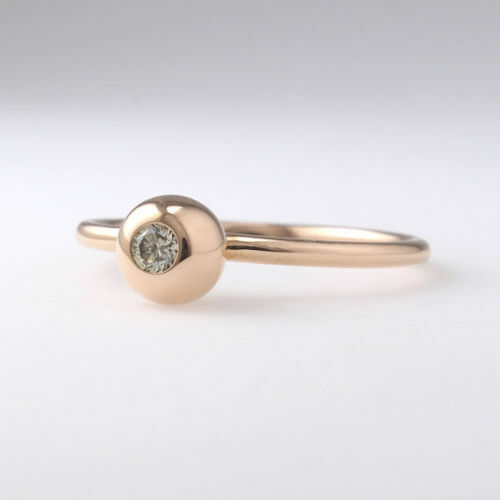 10K solid gold Champagne Diamond Ring,Simple Diamond  fine rings