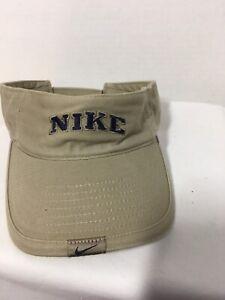 Vintage Khaki Beige Nike Pro Classics Script Hook and Loop Back Visor Cap