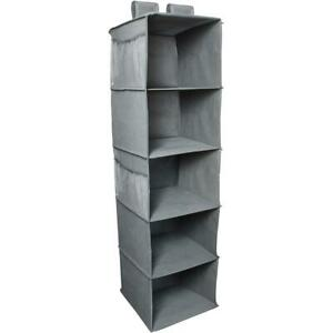 5 Shelf Hanging Wardrobe Storage Organiser Clothes Hang Closet Rack Shelves