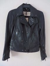 Burberry Brit Women's Black Leather Lambskin Biker Jacket  Prorsum S US 06 MSRP