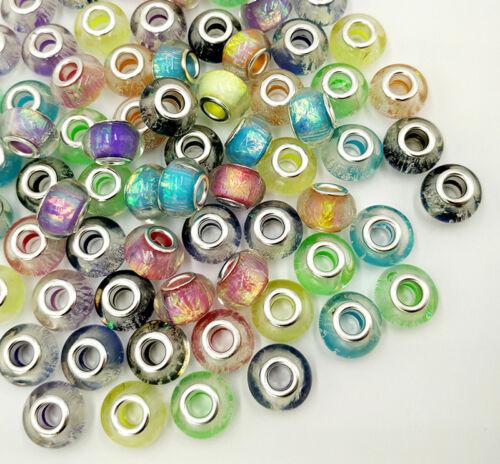 50PCS MIX Big hole Beads fit DIY European charm Bracelet accessories beaded
