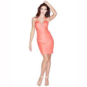 1e2b39350a Marciano Guess Millie Lace up Rose Coral Melon Orange Mini Sexy ...