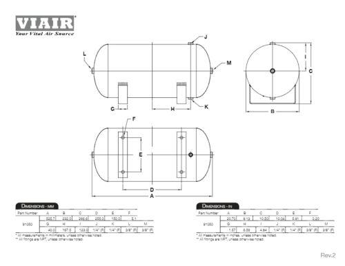 "VIAIR 5.0 Gallon Air Tank Universal Two 1//4/"" /& Two 3//8/"" NPT Ports 150 PSI"
