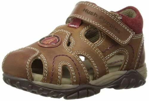 Hush Puppies Boys Ivan Leather Sandals Beach Holiday Caged Toe Slip On Strap