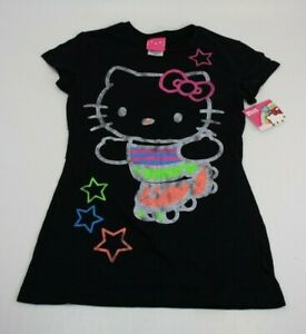 Hello Kitty Sanrio Black Short Sleeve T-Shirt Sz XL Youth Girls