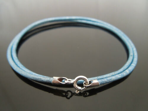 """2mm Metallic Blue Leather /& Sterling Silver Necklace Or Wristband 16/"""" 18/"""" 20/"""" 22"""