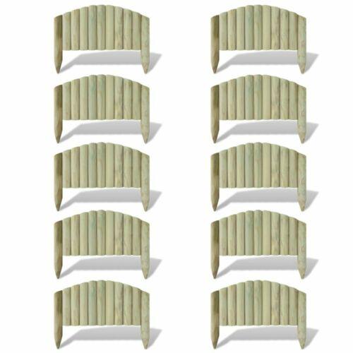 vidaXL 10x Bordures de Jardin en Bois FSC 55 cm Design Arche Bordure à Planter