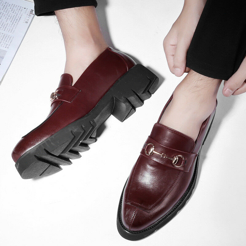 Men's Thicken Platform shoes Casual Oxford Leather Loafers Comfy Driving Flats