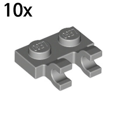 10x 4556157 Brick 60470 New LEGO 1x2 Light Bluish Grey Plate Horizontal Clips