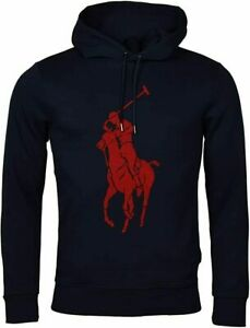 Polo-Ralph-Lauren-Men-039-s-Sz-L-Double-Knit-Big-Pony-Graphic-Logo-Hoodie-Navy-Red