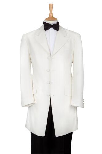 £39.95 CLEARANCE MENS IVORY WHITE LONGER STYLE LINE TUXEDO PROM CRUISE JACKET
