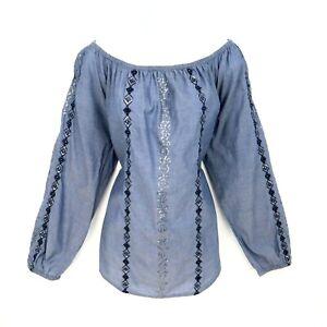 Chico-039-s-Top-Blouse-Womens-Sz-3-Blue-Sequin-Stripes-Cotton-Round-Neck-Long-Sleeve