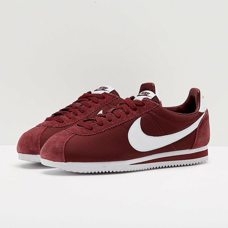 Nike Classic Cortez Nylon/Suede Trainers Burgundy   BRAND NEW