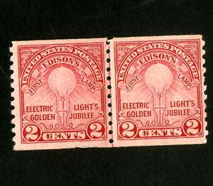 US-Stamps-656-VF-Line-pair-OG-NH-Scott-Value-110-00