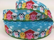 "BTY 1"" Baby Farm Animals Grosgrain Ribbon Hair Bows Scrapbooking Lisa"