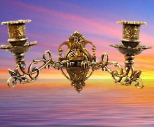 Candelieri ottone brunito 2 braccia nouveau applique da parete