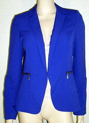 Laundry NWT Szs 8 12 Blue Long Sleeve Jacket Blazer with Zipper Detail $139 7216