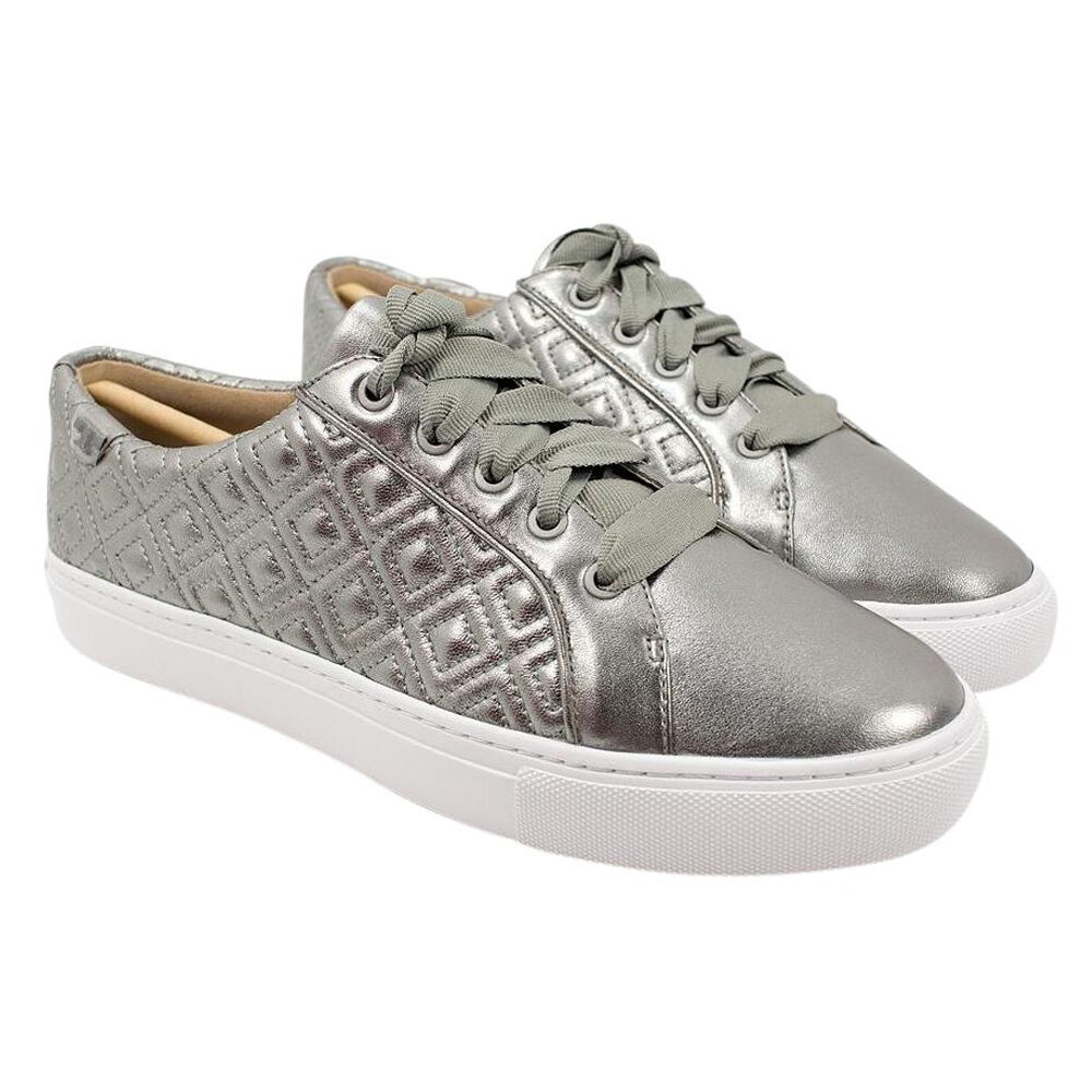 Tory Tory Tory Burch Marion Quilted Metallic Lace-Up Sneaker Gunmetal 146e9c