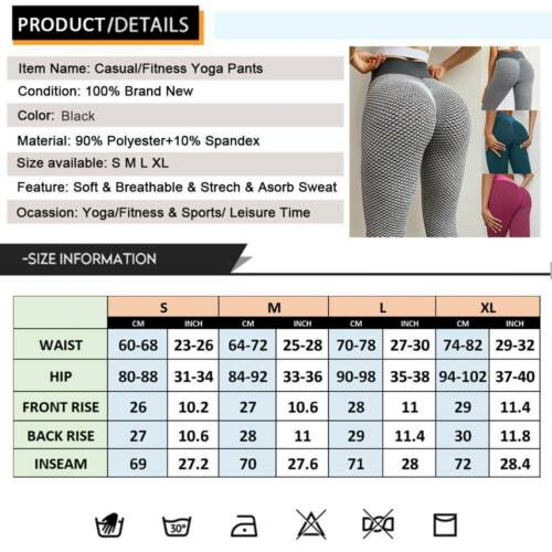 Women/'s Push Up Yoga Pants Leggings Printed Booty Sports Fitness Gym Trousers D