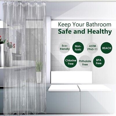 Shower Curtain 100/% PEVA Waterproof and Mildew Resistant Semi-Transparent