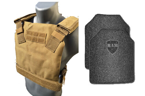 AR500 Body Armor   Bullet Proof Vest   CONCEALED VEST    Base Frag Coating -Tan
