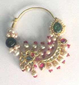 Vintage antique ethnic tribal solid 20K Gold jewelry Pearl NOSE RING