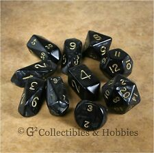 NEW 10 Pearl Black Hybrid RPG D&D Gaming Dice Set Crystal Caste D3 D4 D20 +