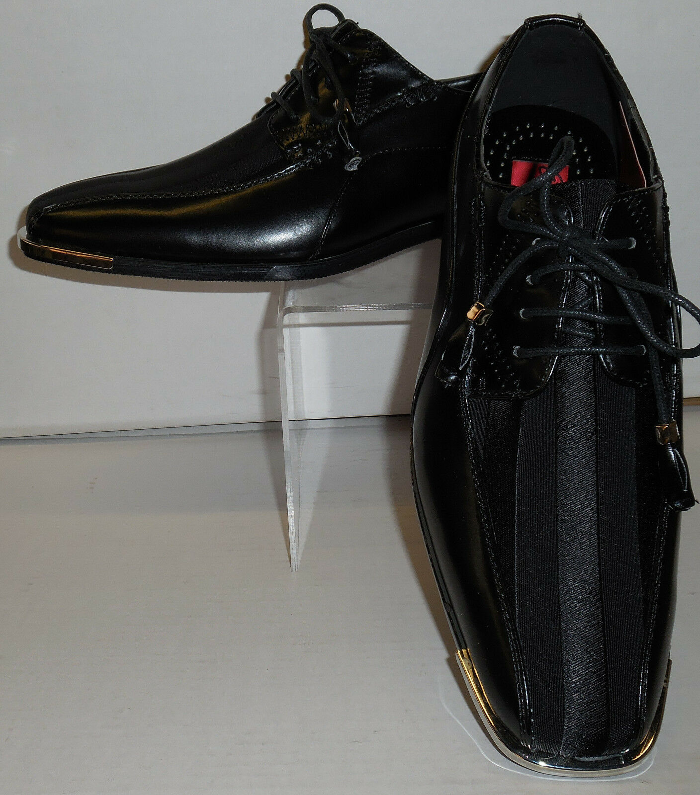 Mens Sophisticated Black Satin Dress shoes Expressions 4925 size  10.5 11