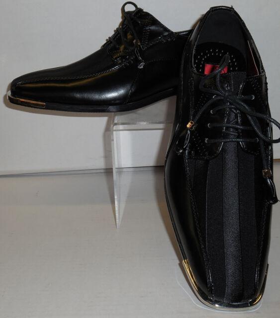 Mens Elegant Formal Black Satin Stripe Silvertip Dress Shoes Expressions 4925