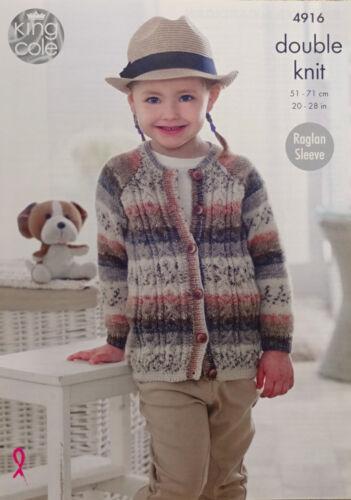 KNITTING PATTERN Childrens Cable Cardigan /& Jumper Splash DK King Cole 4916