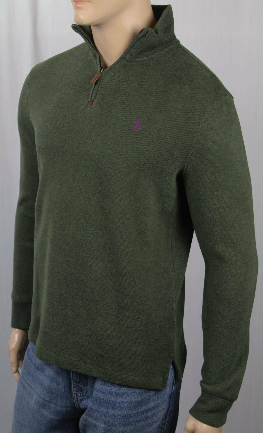 Polo Ralph Lauren Olive Grün 1/2 Half Zip Sweater Plum Pony NWT