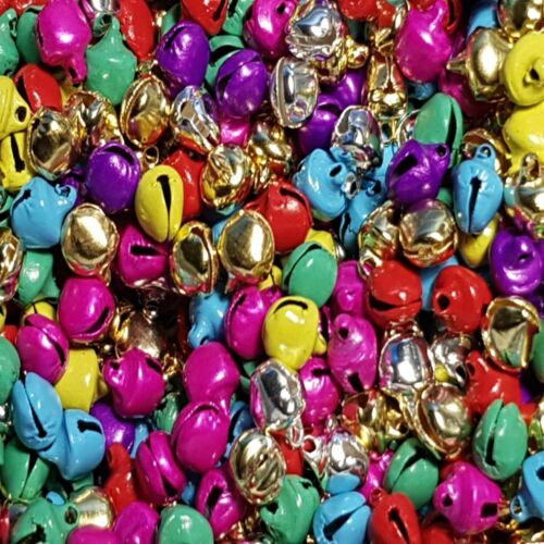 8mm//1-2mm hole Silver//Gold//Mixed Colour Plated Metal Jingle Bells Various Style