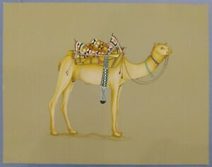 Hand-Painted-Desert-Camel-Miniature-Painting-India-Art-Nature-Finest-Udaipur
