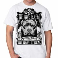The Love Is Real Pit Bull, Bully Breed Men's White T Shirt From Sm 2x 3x 4x 5x
