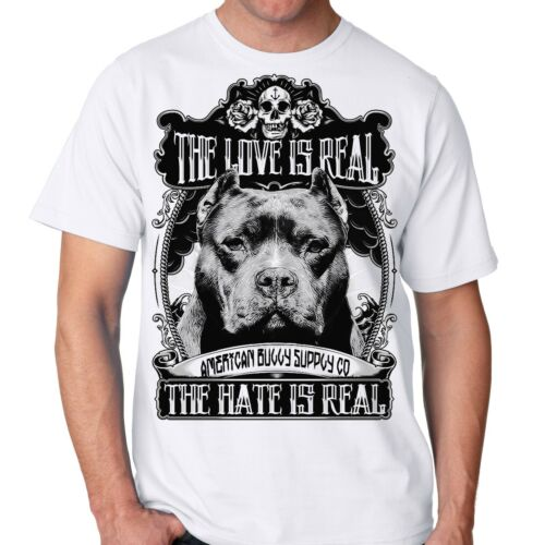 The Love is Real Pit Bull bully breed Men/'s White T shirt from sm  2x 3x 4x 5x