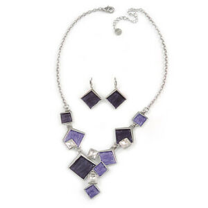 Avant Garde Purple Enamel Geometric Square Station, Clear Crystal Necklace and