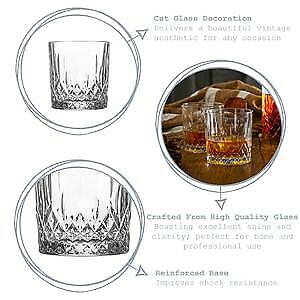 Details about  /Set of 6 Prysm Whiskey Tumbler Glasses 330ml Glassware Drinks Bar Clear New UK
