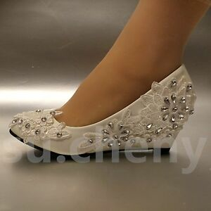 2 Heel White Ivory Wedge Lace Flowers Crystal Wedding Shoes Bridal Size 5 11