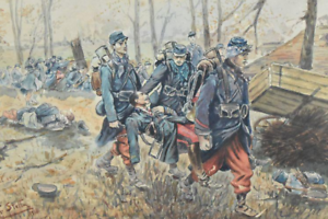ORIGINAL-ANTIQUE-WWI-1916-WATERCOLOUR-PAINTING-FRENCH-SOLDIERS-IN-BATTLE-SIGNED