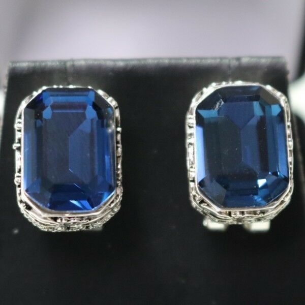 Vintage Carved Antique blueeee Radiant Cut Sapphire Earrings 14K White gold Plated