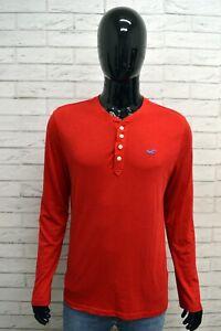 Maglia-Uomo-HOLLISTER-Taglia-M-Maglietta-Shirt-Man-Manica-Lunga-Cotone-Rosso