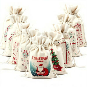 Christmas-Gift-Candy-Bags-Canvas-Santa-Sack-Drawstring-Bags-Xmas-Decoration-gt